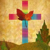 Graphic of cross, with butterfly leaf at the center